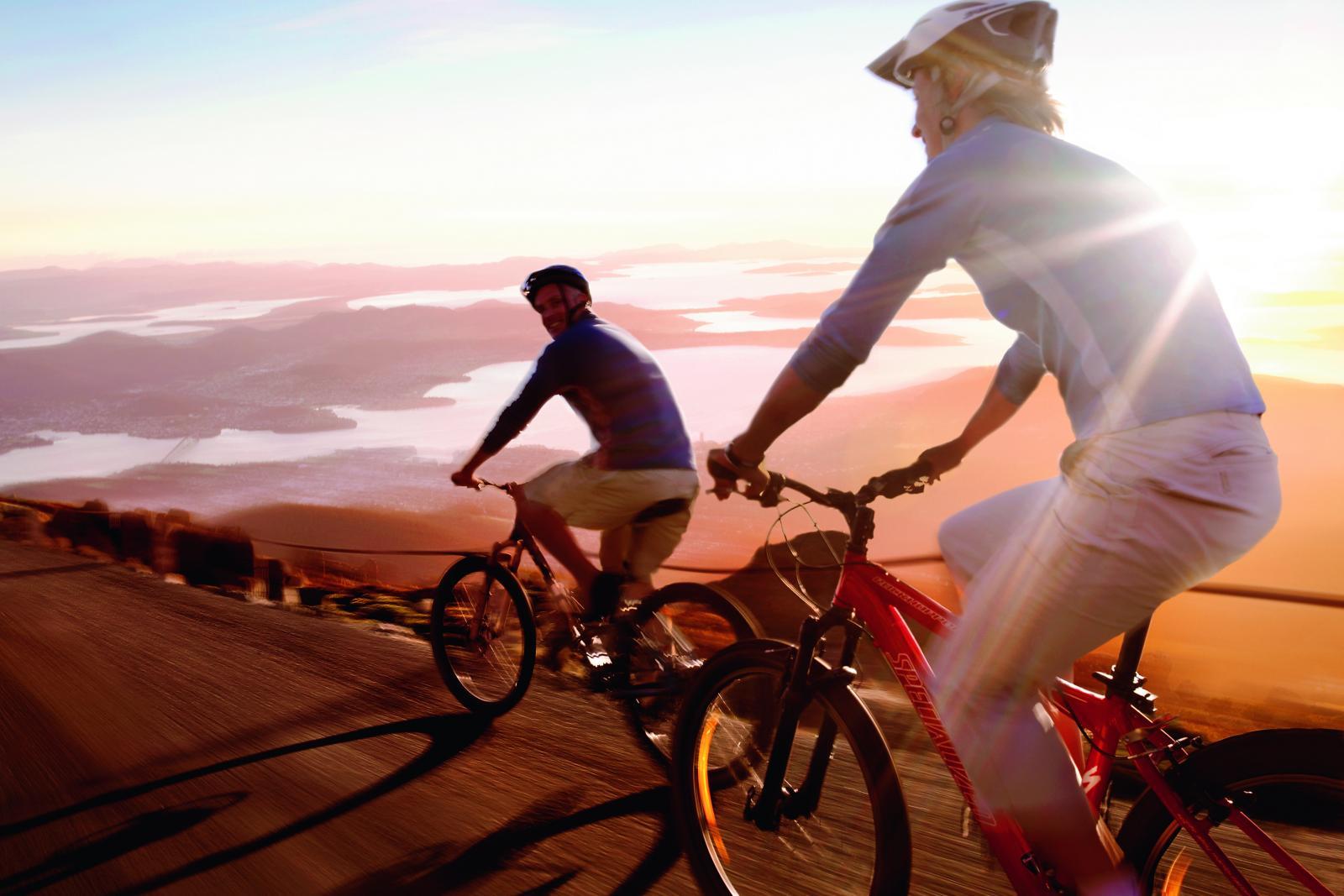 Cycling on Mt Wellington above Hobart Tasmania