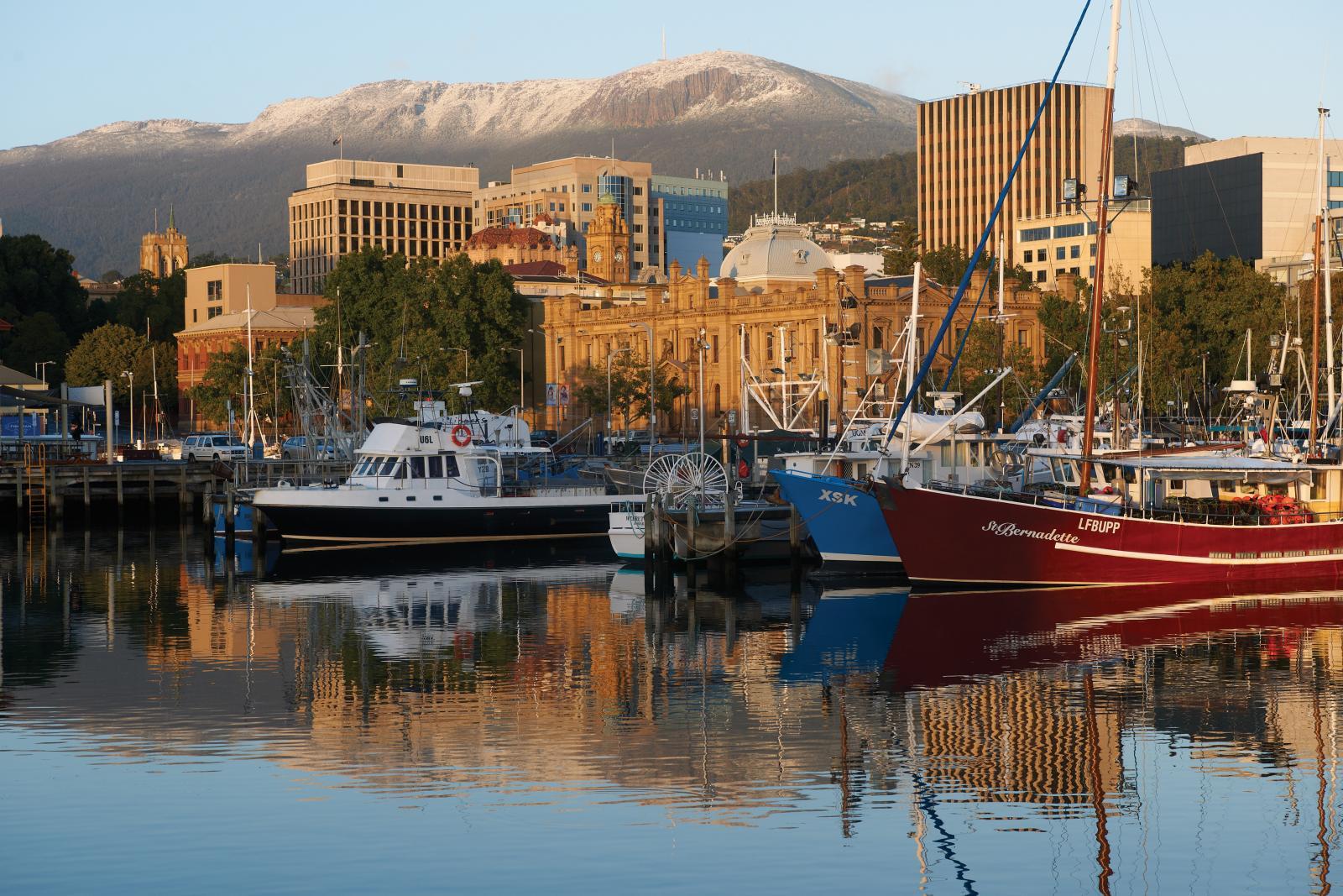 Snow capped Mt Wellington behind Hobart Tasmania