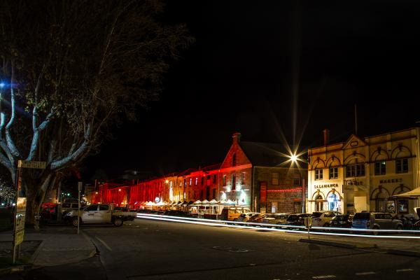 Salamanca Place during Dark Mofo