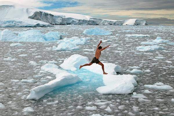 Ice jumping in Antarctica
