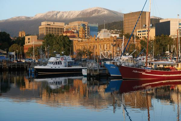 Snow capped Mt Wellington behind Hobart Tasmania