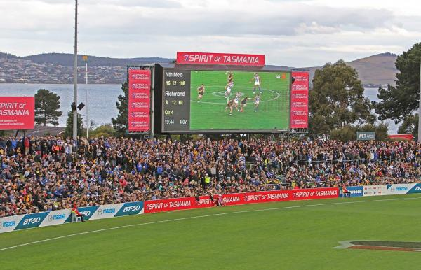 AFL Football at Blundstone Arena at Bellerive in Hobart