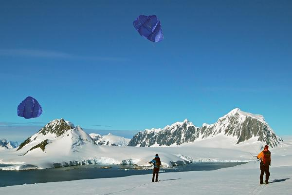 Kite flying in Antarctica